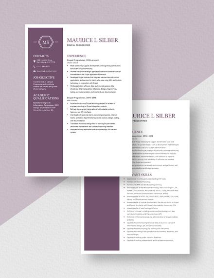 Drupal Programmer Resume Download