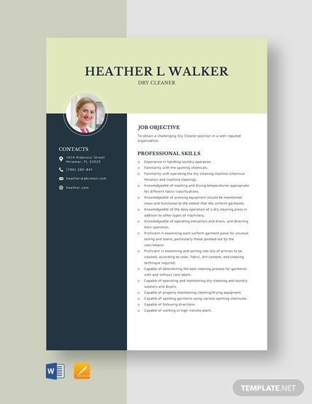 Dry Cleaner Resume Template