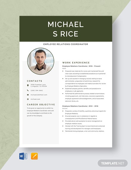 Employee Relations Coordinator Resume Template