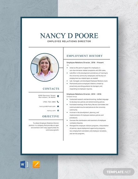 Employee Relations Director Resume Template
