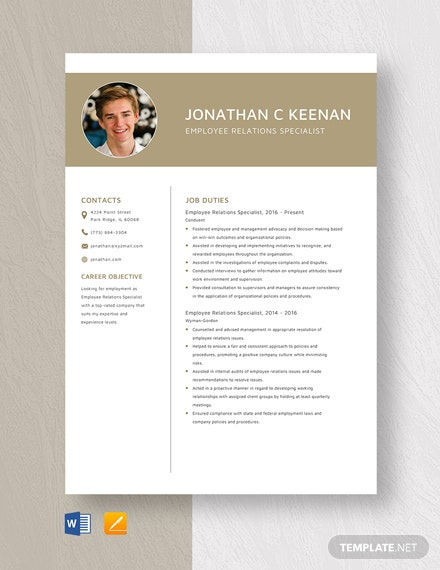 Employee Relations Specialist Resume Template
