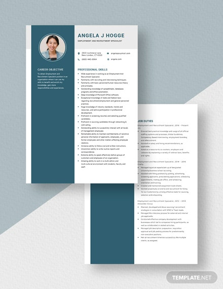 Employment and Recruitment Specialist Resume Download