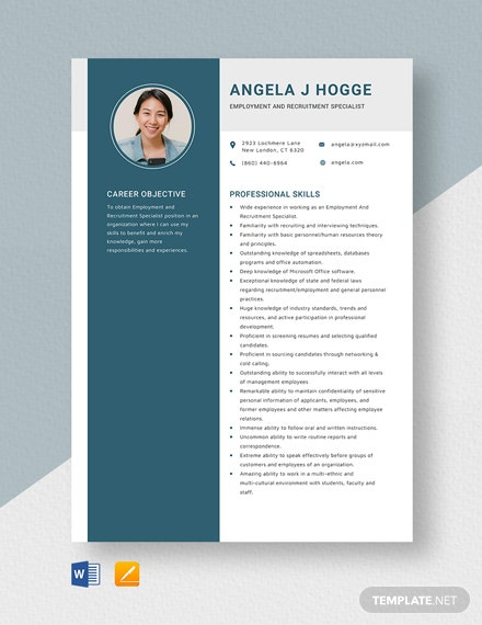 Employment and Recruitment Specialist Resume Template