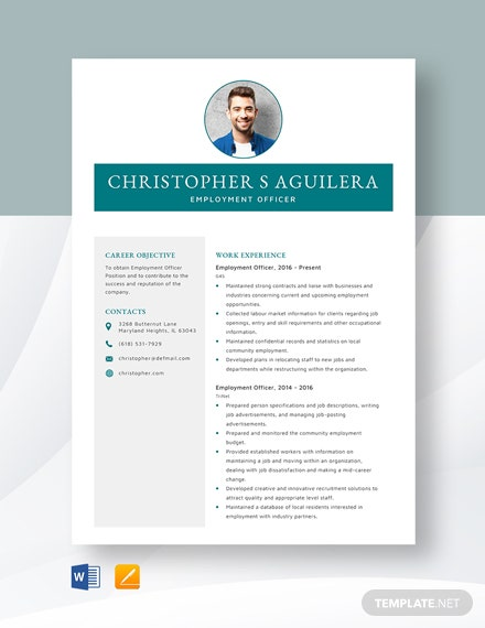 Employment Officer Resume Template