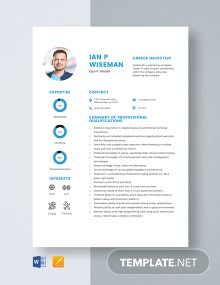 Equity Trader Resume Template