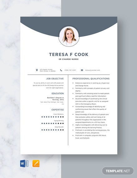 ER Charge Nurse Resume Template