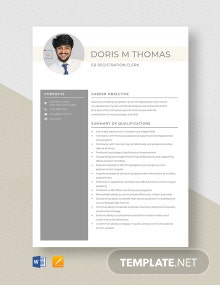 ER Registration Clerk Resume Template
