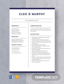 ERP Business Analyst Resume Template