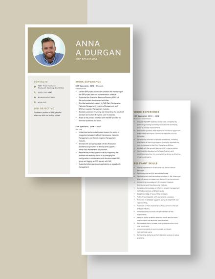 ERP Specialist Resume Download