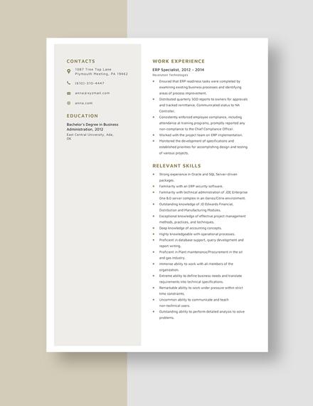 ERP Specialist Resume Template