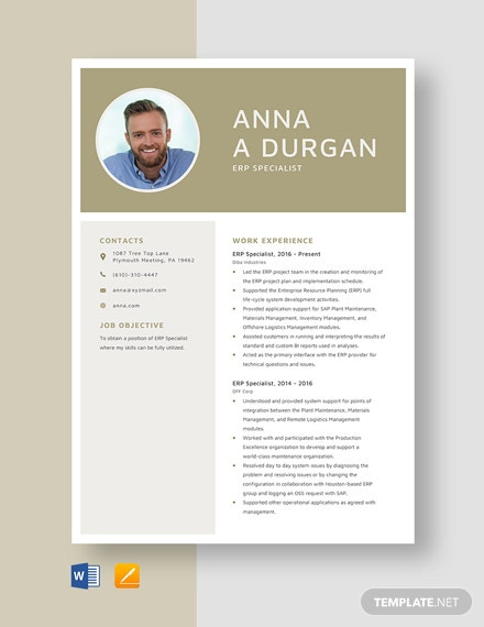 ERP Specialist Resume Template