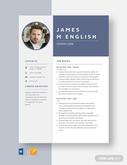 Escrow Clerk Resume Template