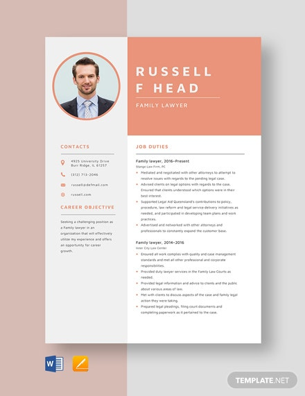 Family Lawyer Resume Template