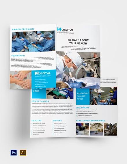 Free Hospital A4 Brochure Template