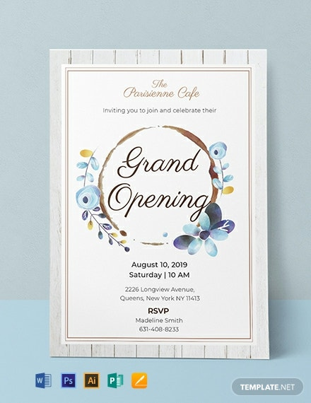 free cafe opening ceremony invitation template  download