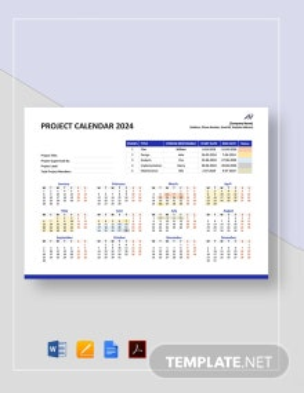 Annual Project Calendar Template