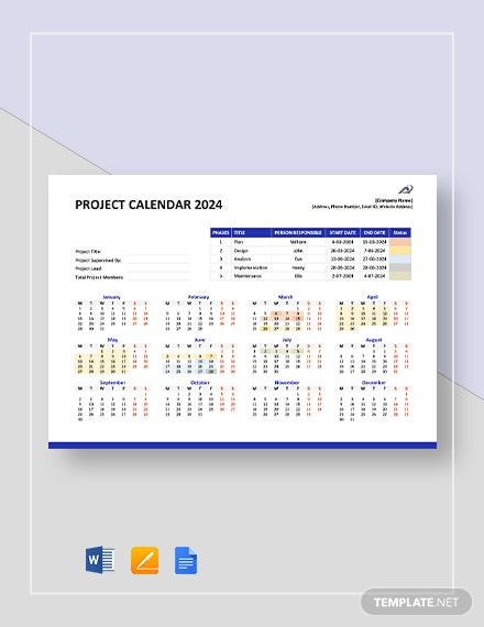 Annual Project Calendar Template