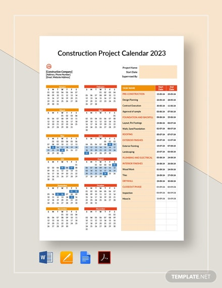 Construction Project Calendar Template