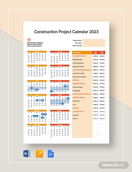 construction project calendar