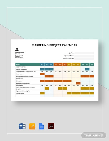 Marketing Project Calendar Template