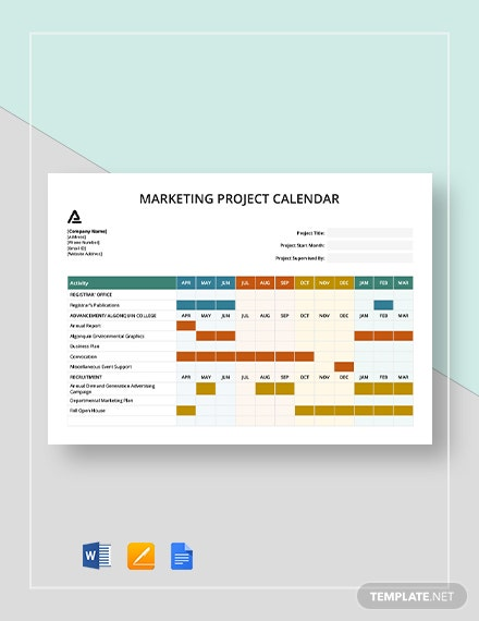 marketing project calendar