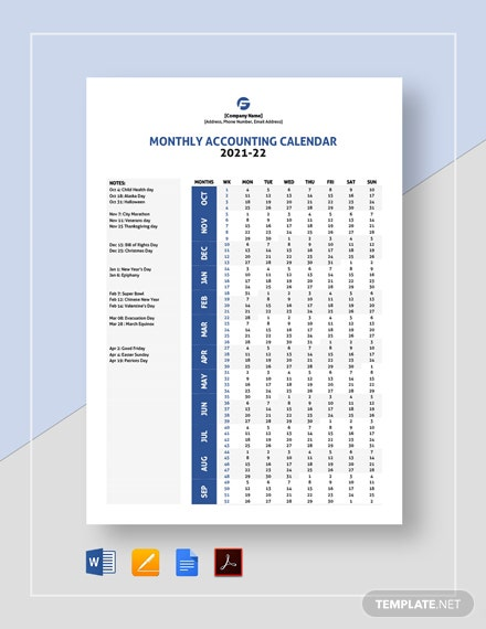 Monthly Accounting Calendar Template