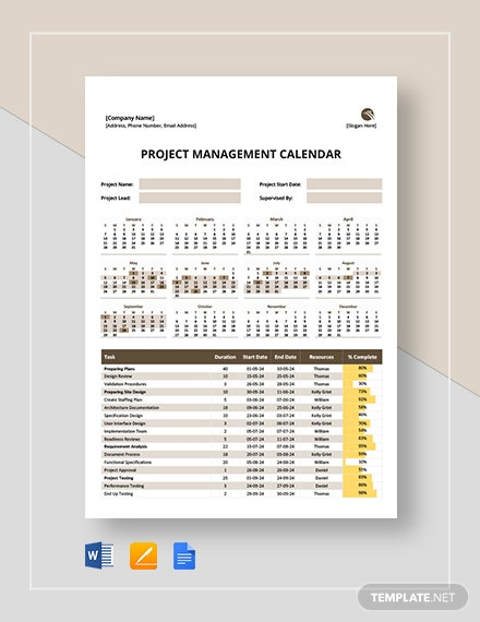 Project Management Calendar Template