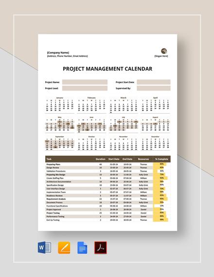 Project Management Calendar Template