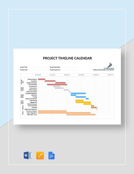 Project Timeline Calendar Template