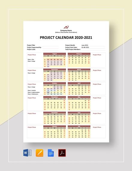 Simple Project Calendar Template