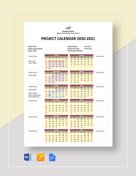 simple project calendar