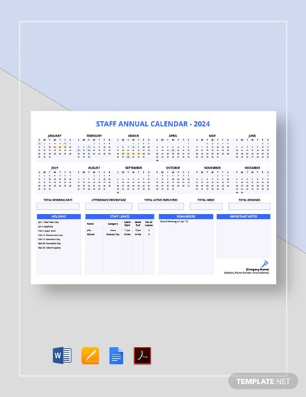 Staff Annual Calendar Template