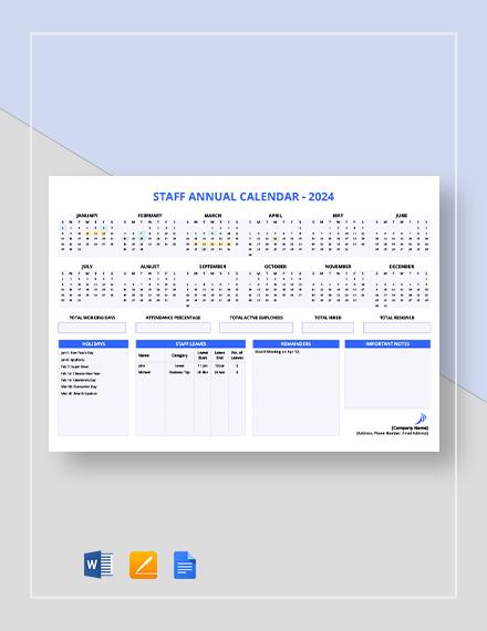 staff annual calendar