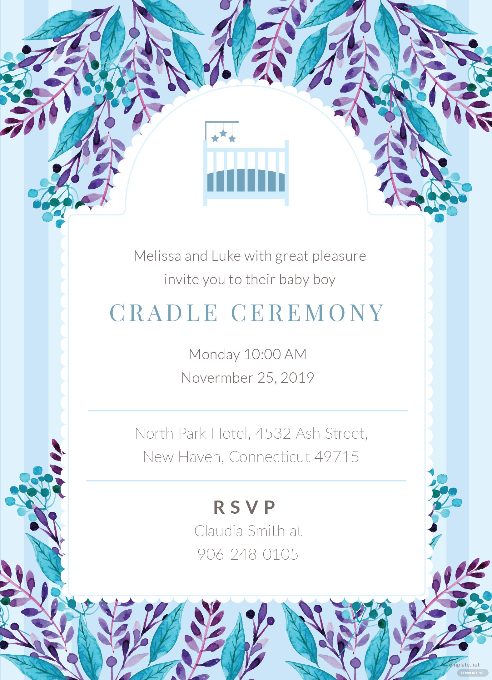 cradle ceremony invitation template in adobe illustrator