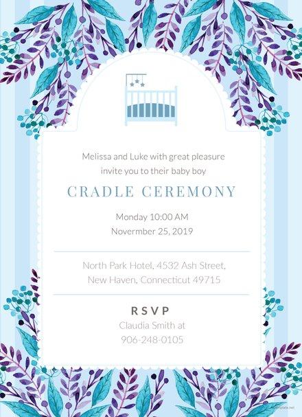 elegant naming ceremony invitation template