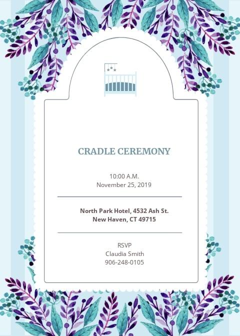 Cradle Ceremony Invitation Template