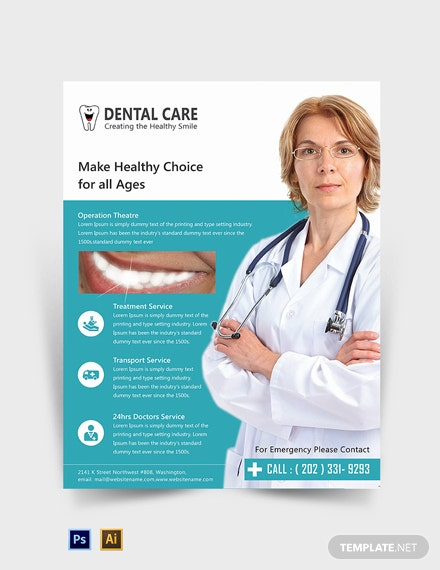 editable dental care flyer template