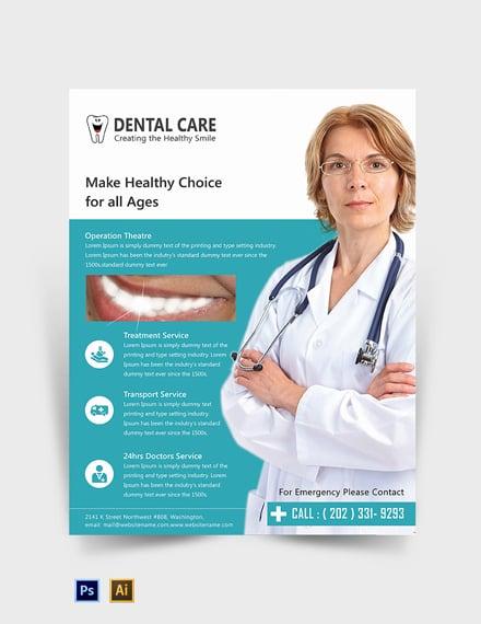 Free Editable Dental Care Flyer Template
