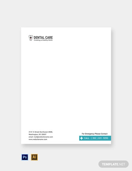 Free Dental Care Letterhead Template