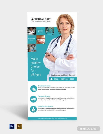 Free Dental Care Rack Card Template