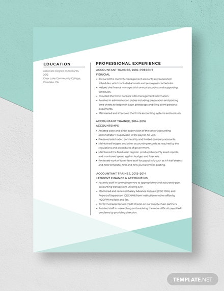 Accountant Trainee Resume  Template