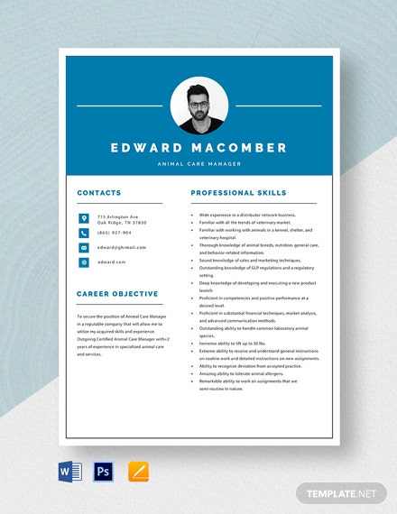 Animal Care Manager Resume Template