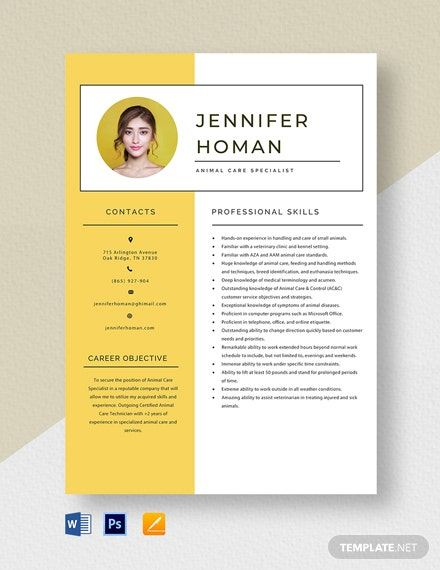 Animal Care Specialist Resume Template