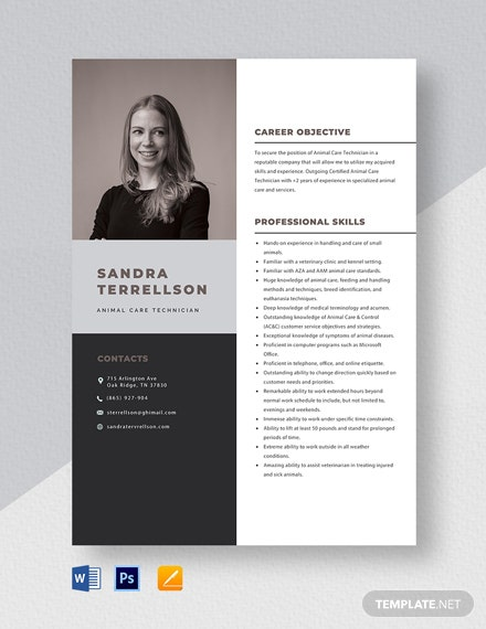 Animal Care Technician Resume Template