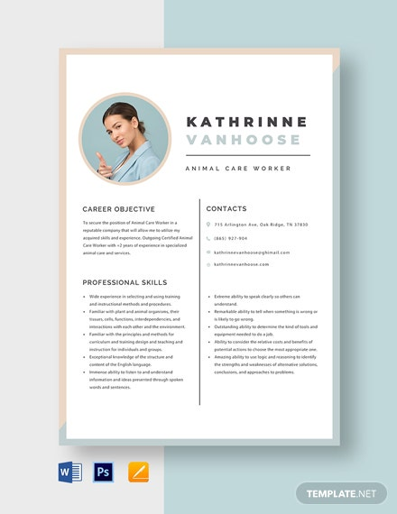 Animal Care Worker Resume Template