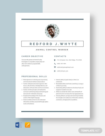 Animal Control Worker Resume Template
