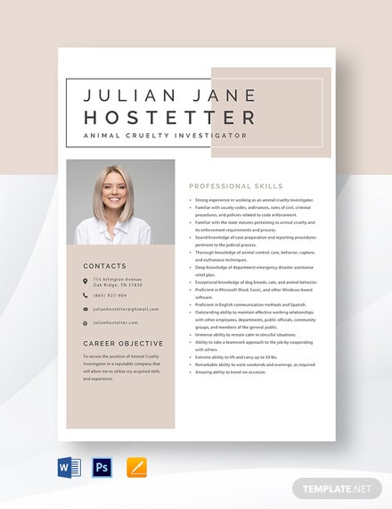 Animal Cruelty Investigator Resume Template
