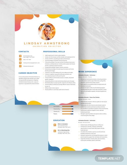 Animation Director Resume Download