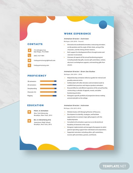 Animation Director Resume Template