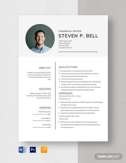 Commercial Officer Resume Template
